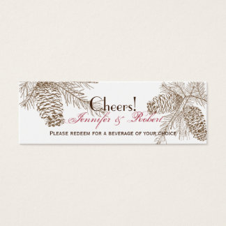 飲み物のチケットを結婚するマツ円錐形の自然 スキニー名刺