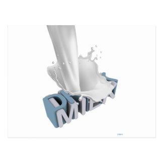 飲み物のミルク! 3D ポストカード