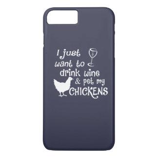 飲み物のワインは及び私の鶏をかわいがります iPhone 8 PLUS/7 PLUSケース