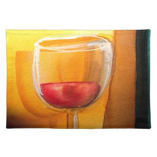 飲み物はメリーなランチョンマット-ワイングラスのデザインであり、 ランチョンマット