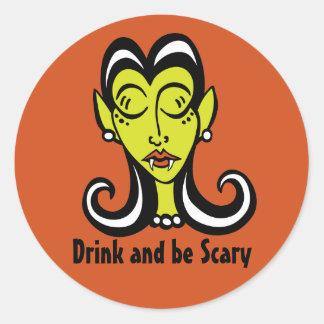 飲み物は恐いステッカーであり、 ラウンドシール