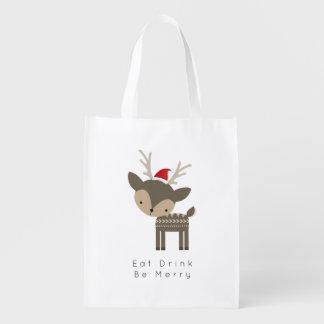 飲み物をありますサンタの赤い帽子のメリークリスマスのシカが食べて下さい エコバッグ