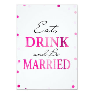 飲み物をあります結婚したな印|のピンクのマゼンタの紙吹雪が食べて下さい カード