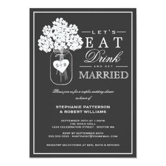 飲み物を食べて下さい及びカップルのシャワーの招待状を結婚して下さい カード