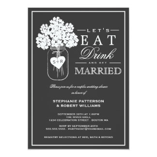 飲み物を食べて下さい及びカップルのシャワーの招待状を結婚して下さい 12.7 X 17.8 インビテーションカード