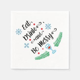飲み物を食べて下さい及びメリークリスマスのカクテルのナプキンがあって下さい スタンダードカクテルナプキン