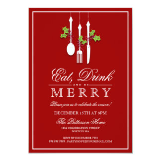 飲み物を食べて下さい及びメリークリスマスの休日のパーティがあって下さい 12.7 X 17.8 インビテーションカード
