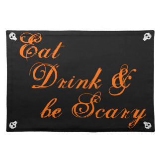 飲み物を食べて下さい及び恐いがあって下さい ランチョンマット