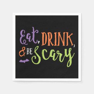 飲み物を食べ、ハロウィンの恐いナプキンがあって下さい スタンダードカクテルナプキン