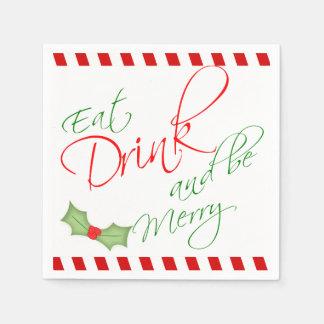 飲み物を食べ、メリークリスマスのヒイラギの果実があって下さい スタンダードカクテルナプキン
