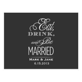 飲み物を食べ、結婚したがあって下さい ポストカード