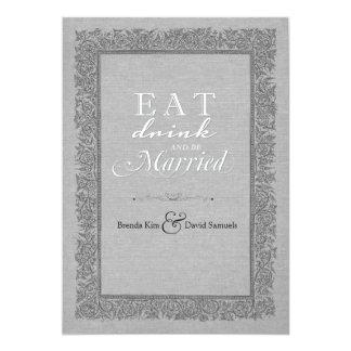 飲み物を食べ、結婚したな招待状があって下さい 12.7 X 17.8 インビテーションカード
