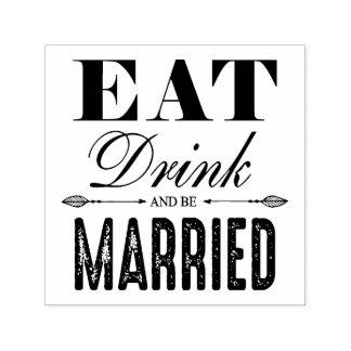 飲み物を食べ、結婚したな結婚式があって下さい セルフインキングスタンプ