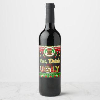 飲み物を食べ、醜いクリスマスの休日のパーティがあって下さい ワインラベル