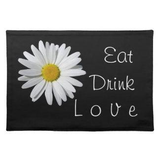 飲み物愛白いデイジーの黒のランチョンマットを食べて下さい ランチョンマット