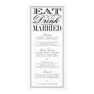 、飲み物食べて下さい及び結婚したでモダンで黒くか白い結婚式があって下さい ラックカード