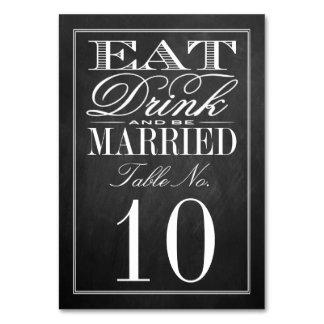 、飲み物食べて下さい及び結婚したな黒板の結婚式があって下さい カード