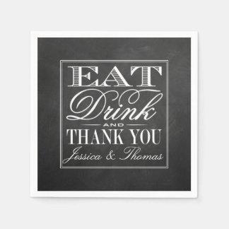 、飲み物食べて下さい及び結婚したな黒板の結婚式があって下さい スタンダードカクテルナプキン