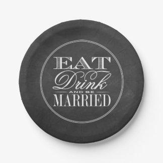 、飲み物食べて下さい及び結婚したな黒板の結婚式があって下さい ペーパープレート スモール
