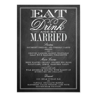 、飲み物食べて下さい及び結婚したな黒板の結婚式メニューがあって下さい カード