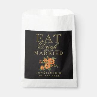 、飲み物食べ、結婚したが-オレンジ花柄あって下さい フェイバーバッグ