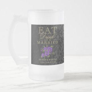、飲み物食べ、結婚したが-紫色および黒あって下さい フロストグラスビールジョッキ