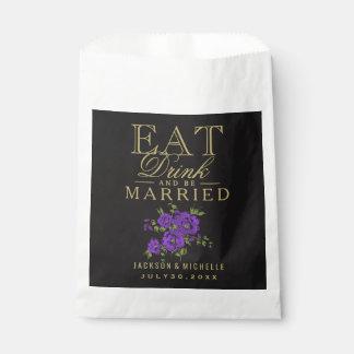 、飲み物食べ、結婚したが-紫色の花柄あって下さい フェイバーバッグ