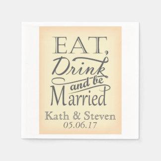 、飲み物食べ、結婚したなデザインがあって下さい スタンダードカクテルナプキン