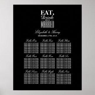 、飲み物食べ、結婚したな結婚式の座席の図表があって下さい ポスター