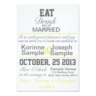 、飲み物食べ、結婚したな結婚式招待状があって下さい 12.7 X 17.8 インビテーションカード
