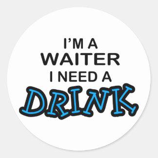 飲み物-ウェイター--を必要として下さい ラウンドシール