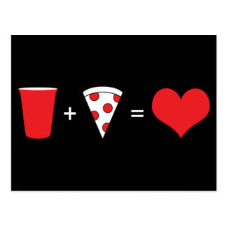 飲み物 + ピザ=愛 ポストカード