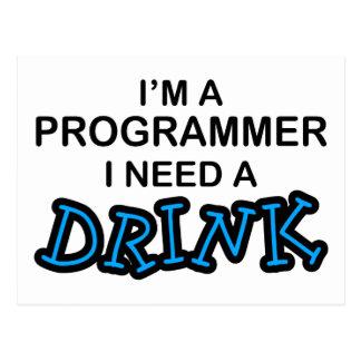 飲み物-プログラマー--を必要として下さい はがき
