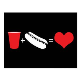 飲み物 + ホットドッグ=愛 ポストカード