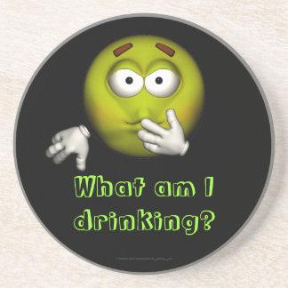 """""""飲んでいる私は何であるか""""。 -病気のスマイリー[a] コースター"""