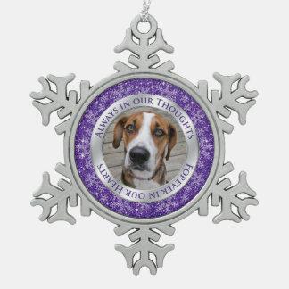 飼い犬の記念の写真のクリスマスの紫色の銀 スノーフレークピューターオーナメント