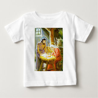 飼い葉桶のクリスマスの出生のイエス・キリスト ベビーTシャツ