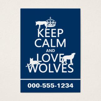 飼って下さい平静および愛オオカミ(どの背景色でも)を 名刺