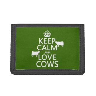飼って下さい平静および愛牛(すべての色)を ナイロン三つ折りウォレット