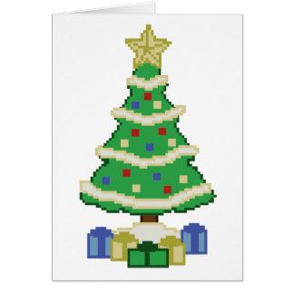 飾られたクリスマスツリー8bitのビデオゲームのスタイル カード