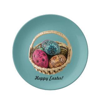 飾られた卵のバスケットの磁器皿 磁器プレート