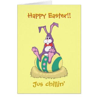 飾られた卵のJus Chillinイースターのウサギ カード