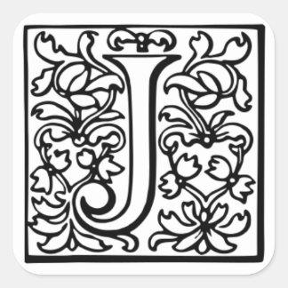"""飾られた手紙""""J """" スクエアシール"""
