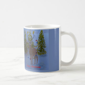 飾られた(雄ジカの)枝角を搭載するトナカイ、メリークリスマス コーヒーマグカップ