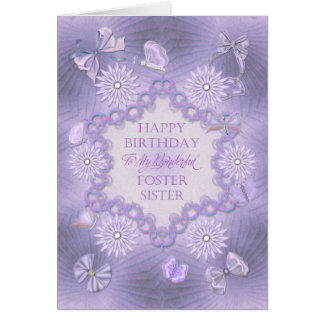 養育関係姉妹のため、花との薄紫の誕生日 カード