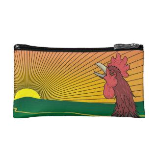養鶏場の日の出: 鳴くオンドリ コスメティックバッグ