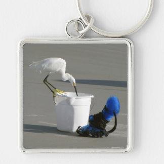 餌のバケツのSnowy白鷺 キーホルダー