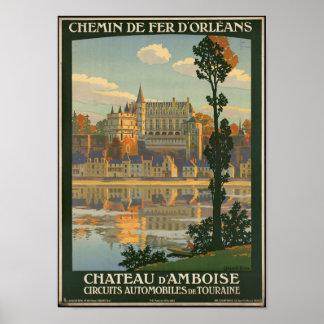 館のd'Amboiseのためのヴィンテージ旅行ポスター ポスター
