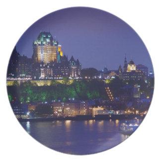 館のFrontenacの城夜ケベックのプレート プレート