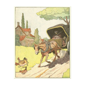 館を過ぎた馬そしてキャリッジ キャンバスプリント